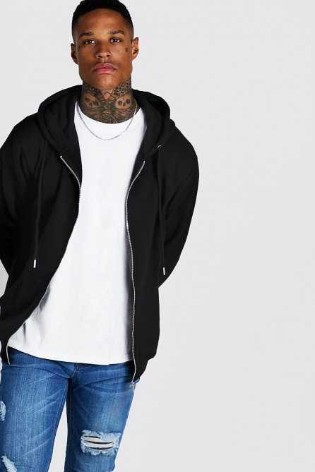 Basic Zip Through Fleece Hoodie
