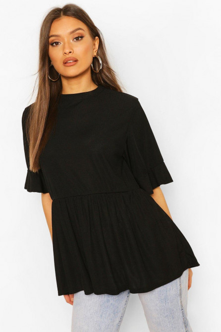 Ribbed Ruffle Short Sleeve Smock Top