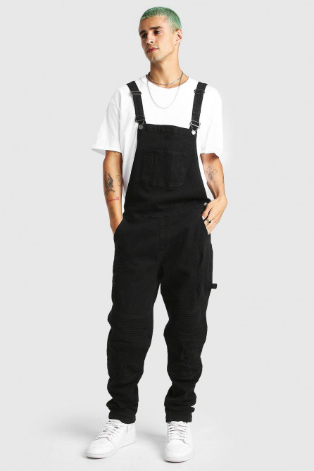 Slim Long Denim Biker Dungarees With Rips