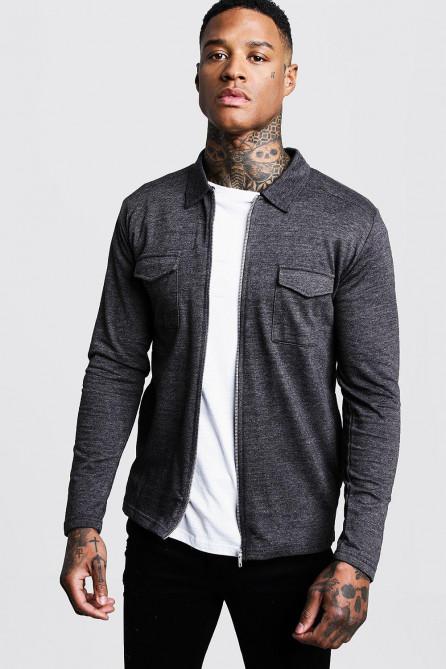 Jersey Utility Zip Overshirt