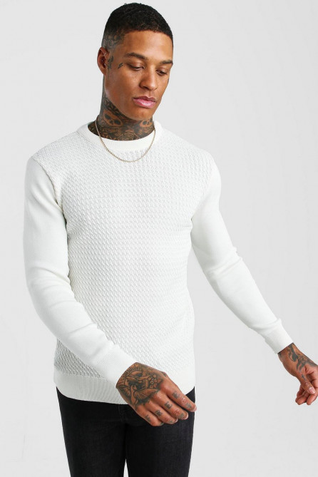 Textured Crew Neck Muscle Fit Jumper