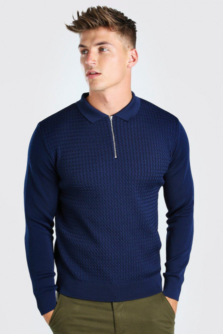 Textured Long Sleeve Half Zip Polo