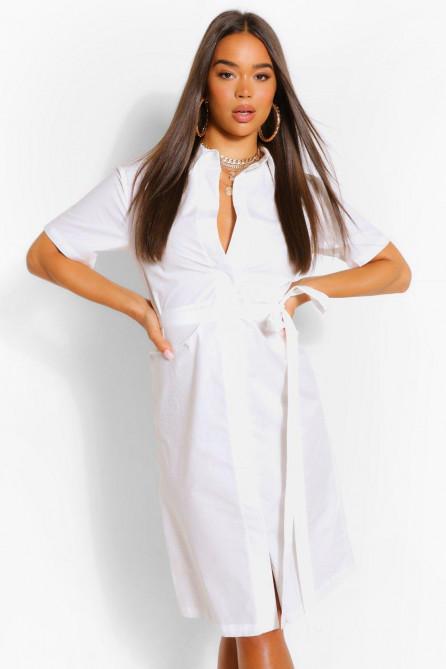 Cotton Belted Midi Shirt Dress